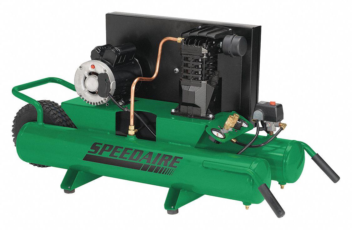 SPEEDAIRE 1.8 HP, 115/230VAC, 9 gal. Wheelbarrow Electric Air Compressor,  135 psi - 4B222 4B222 - Grainger