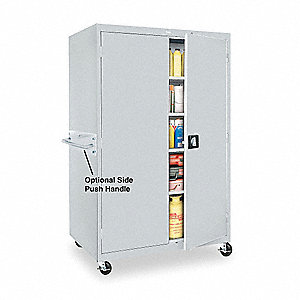 "Mobile Storage Cabinet, Dove Gray, 72"" Overall Height, Assembled"