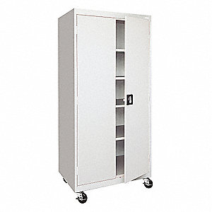 "Mobile Storage Cabinet, Dove Gray, 78"" Overall Height, Assembled"