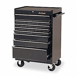 "Black Rolling Cabinet, Width: 27"", Depth: 18"", Height: 41-1/2"""