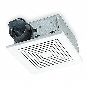 "7-1/4"" x 7-1/2"" x 3-5/8"" Bathroom Fan, 70 CFM, 1.15 Amps"