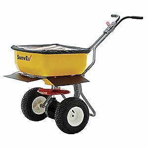 Broadcast Spreader, 160 lb. Capacity, Knobby Wheel Type, High Output Drop Type, Fixed T Handle