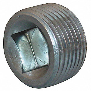 "Square Recessed Head Plug, Magnetic, MNPT, 1/2"" Pipe Size - Pipe Fitting"