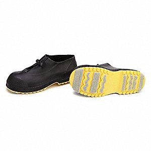 "4""H Men's Overshoes, Plain Toe Type, PVC Upper Material, Black/Yellow, Size 2XL"