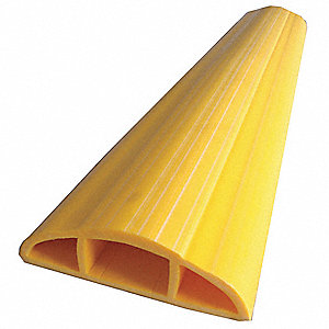 "Cable Protector, 1-Channel, Yellow, 10 ft. x 17/32""H, Max. Cable Dia.: 1/4"""