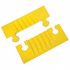 Hinged 5-Channel Cable Protector End Cap, Yellow, 6""