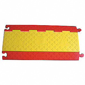 "3 ft.L x 17-1/2""W x 2"" Mushroom Cable Protector, Red and Yellow"
