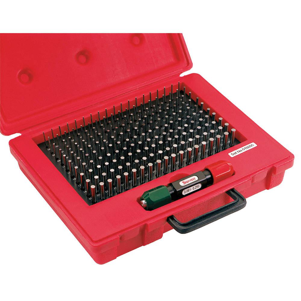STARRETT S4005-500 Pin Gage Set,Minus,0.251-0.500 In