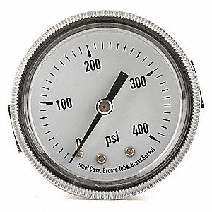 "2"" General Purpose Pressure Gauge, 0 to 400 psi"