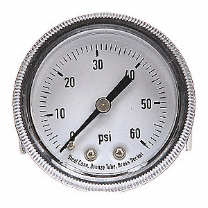 "2"" General Purpose Pressure Gauge, 0 to 60 psi"