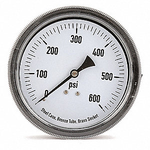 "3-1/2"" General Purpose Pressure Gauge, 0 to 600 psi"