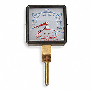 Boiler Gauge,Square,0-200PSI,80 to 320 F