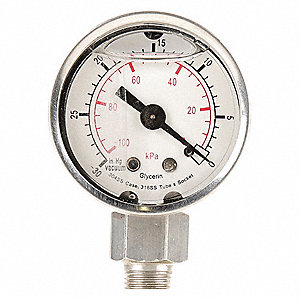 "Pressure Gauge, Liquid Filled Gauge Type, 0 to 100 psi, 0 to 700 kPa Range, 2-1/2"" Dial Size"
