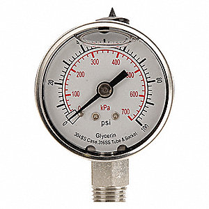"2"" General Purpose Pressure Gauge, 0 to 100 psi"