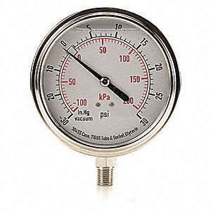 "3-1/2"" General Purpose Compound Gauge, -30 to 0 to 30 In. Hg/psi"