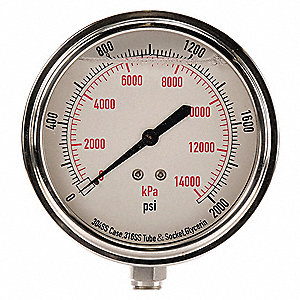 Pressure Gauge,Liquid Filled,3-1/2 In