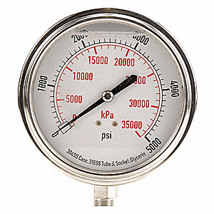 "3-1/2"" General Purpose Pressure Gauge, 0 to 5000 psi"