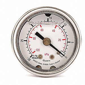 "Pressure Gauge, Liquid Filled Gauge Type, 0 to 5000, 0 to 35,000 kPa Range, 2-1/2"" Dial Size"