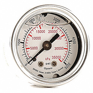 "1-1/2"" General Purpose Pressure Gauge, 0 to 5000 psi"