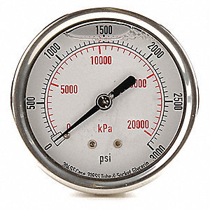 Pressure Gauge,Liquid Filled,2-1/2 In