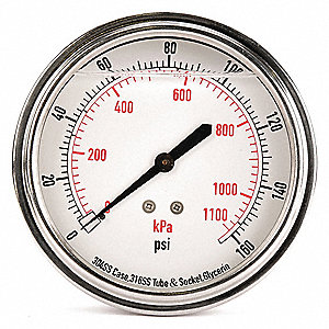 "3-1/2"" General Purpose Pressure Gauge, 0 to 160 psi"