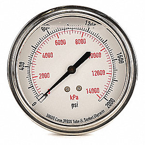 "3-1/2"" General Purpose Pressure Gauge, 0 to 2000 psi"
