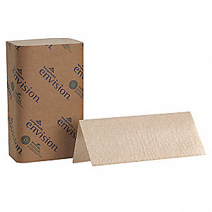 "Envision® 1-Ply Single Fold Paper Towel Sheets, 9-1/4"" x 10-1/4"", Brown, 16PK"