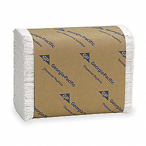 "7 x 13-1/2"" 1-Ply Plain Dispenser Napkin HyNap®, White&#x3b; PK10000"