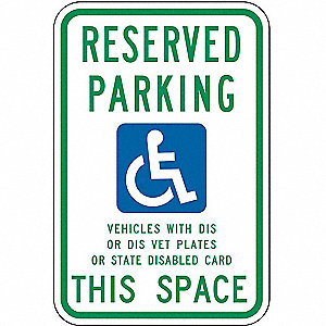 Text and Symbol Reserved Parking Vehicles With DIS Or DIS Vet Plates Or State Disabled Card This Spa