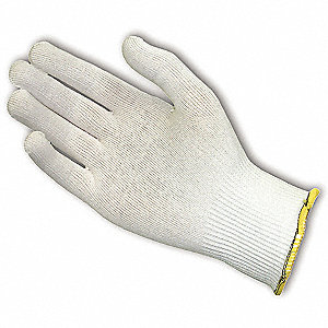 Uncoated Cut Resistant Glove, ANSI/ISEA Cut Level 2, Dyneema® Lining, White, XL, EA 1
