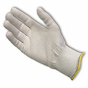 Uncoated Cut Resistant Glove, ANSI/ISEA Cut Level 2, Dyneema® Lining, White, XS, EA 1