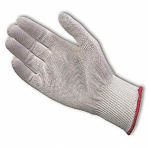 Uncoated Cut Resistant Glove, ANSI/ISEA Cut Level 3, Dyneema® Lining, White, XL, EA 1