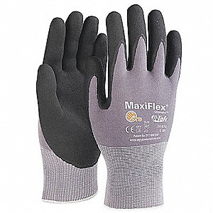 15 Gauge Micro-Foam Nitrile Coated Gloves, Size L, Black/Gray