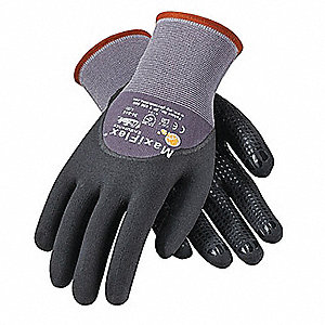 Coated Gloves,XS,Black/Gray,PR
