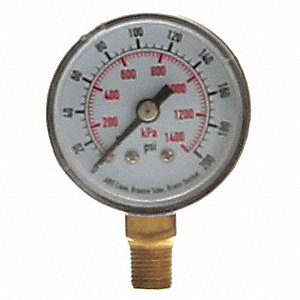 "1-1/2"" Test Pressure Gauge, 0 to 200 psi"
