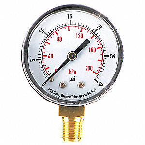 "2"" Test Pressure Gauge, 0 to 30 psi"