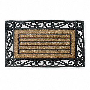 "Indoor/Outdoor Entrance Mat, 30"" L, 18"" W, 1/2"" Thick, Rectangle, Black"