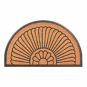 "Indoor/Outdoor Entrance Mat, 30"" L, 18"" W, 1/2"" Thick, Half-Oval"
