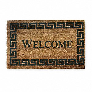 "Black/Natural Coir Fiber, Entrance Mat, 18"" Width, 2 ft. 6"" Length"