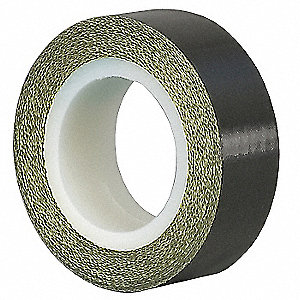 "Utility Slick-Surface Tape, 2"" X 5 yd., 8.00 mil Thick, Black Coated Cloth, 1 EA"