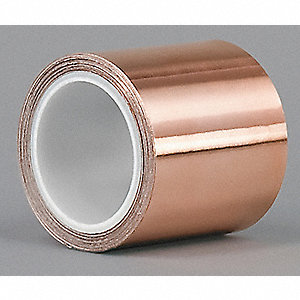 "Copper Shielding Foil Tape, Acrylic, 2.60 mil Thick, 1/2"" X 6 yd., 1 EA"