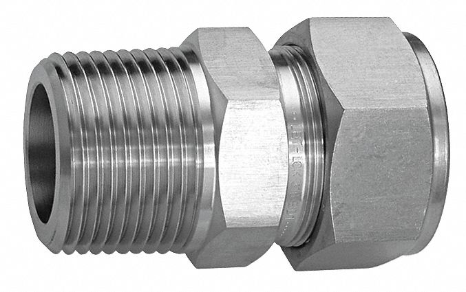 Male Connector, 1/4 in Tube Size, 1/4 in Pipe Size - Pipe Fitting, Metal, 9/16 in Hex Size