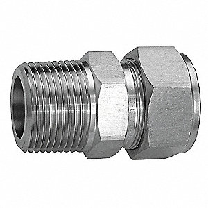 "316 Stainless Steel Compression x MNPT Male Connector, 1/4"" Tube Size"