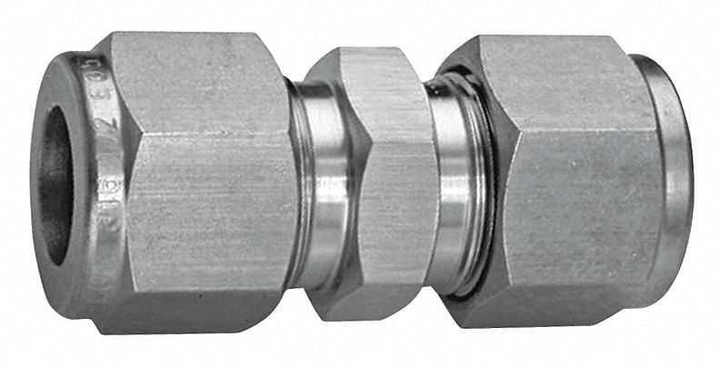 Straight Union, 1/2 in Tube Size, Metal, 13/16 in Hex Size