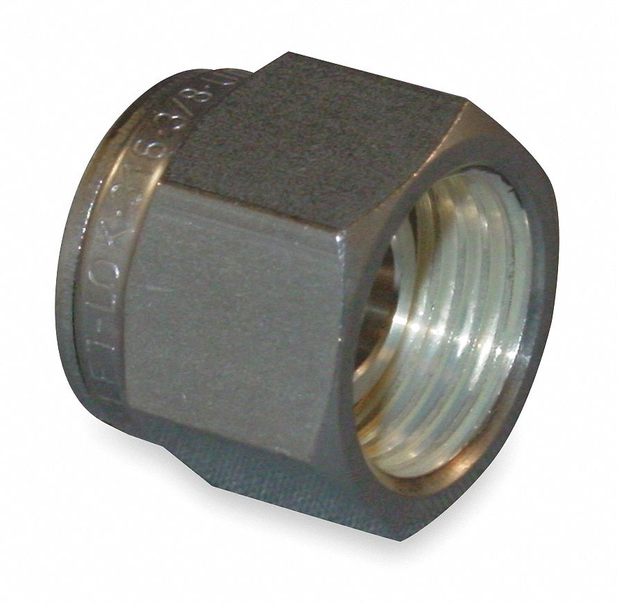 Nut, 3/8 in Tube Size, Metal, 11/16 in Hex Size