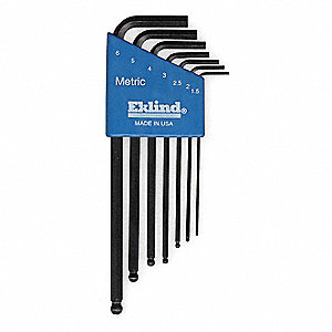 Short L-Shaped Metric Black Oxide Ball End Hex Key Set, Number of Pieces: 7