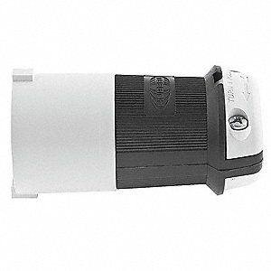 30A Industrial Grade Shrouded Locking Plug, Black/White; NEMA Configuration: L15-30P