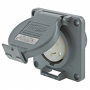 Gray Watertight Locking Receptacle, 20 Amps, 277VAC Voltage, NEMA Configuration: L7-20R