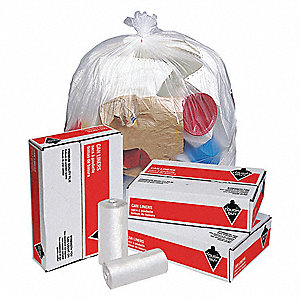 45 gal. Clear Trash Bags, Medium Strength Rating, Coreless Roll, 250 PK