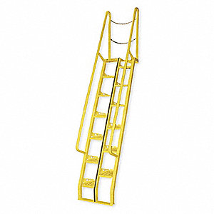 "13-Step Steel Alternating Tread Stairs, Perforated Step Tread, 96"" Top Step Height, 350 lb. Load Cap"